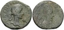 Ancient Coins - Mesopotamia, Edessa. Gordian III, with Abgar X Phrahates. A.D. 239-244. Æ. A.D. 242-244. Fine, green patina.