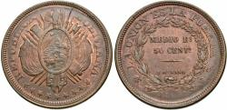 World Coins - Bolivia. 1896-PTS ES. 50 centavos. AU, red and brown.