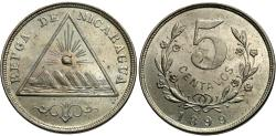 World Coins - Nicaragua. 1899. 5 centavos. Choice BU, vibrant luster and a gentle tone. Scarce one-year type.
