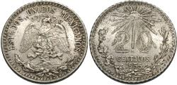 World Coins - Mexico, United States of Mexico. 1935. 20 centavos. Choice Unc.