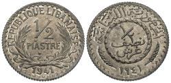 World Coins - Lebanon. 1941-(a). 1/2 piastre. Choice BU, rare zinc wartime issue.