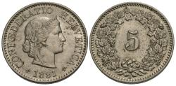 World Coins - Switzerland, Confederation. 1891-B. 5 rappen. Choice AU.
