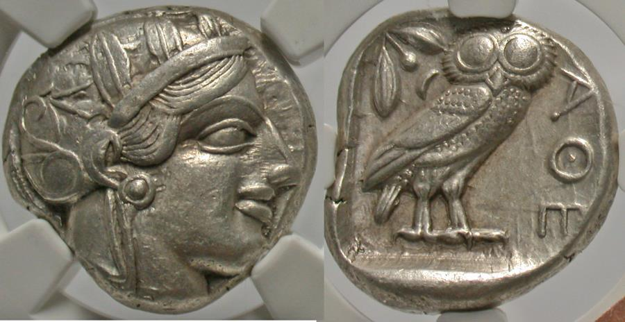 Ancient Coins - Attica, Athens. Ca. 449-404 B.C. AR tetradrachm. NGC Ch XF, strike: 4/5, surface: 4/5, edge cut.