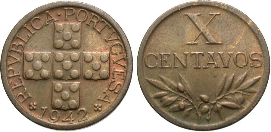 World Coins - Portugal. 1942. 10 centavos. Unc.