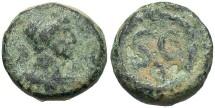 Ancient Coins - Syria, Seleucis and Pieria. Antiochia ad Orontem. Hadrian. A.D. 117-138. Æ 1/2 quadrans or chalkous. Good Fine, green patina.