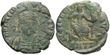 Ancient Coins - Arcadius. A.D. 383-408. Æ 16 mm. Antioch. VF, green patina.