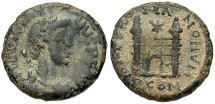 Ancient Coins - Magnus Maximus. A.D. 383-388. Æ 13 mm. Arelate. VF, black patina, sandy highlights on reverse.
