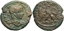 Ancient Coins - Syria, Seleucis and Pieria. Antiochia ad Orontem. Elagabalus. A.D. 218-222. BI tetradrachm. Near VF, rough brown and green patina, flan crack.