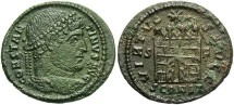 Ancient Coins - Constantine I. A.D. 307/10-337. Æ follis. Arelate, A.D. 328. VF, green patina, porous.