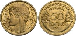 World Coins - French West Africa. 1944-(L). 50 centimes. AU, scarce.