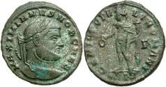Ancient Coins - Galerius. A.D. 305-311. Æ follis. Siscia, as Caesar, ca. A.D. 295. VF, some silvering, minor encrustation.