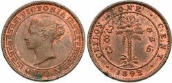 World Coins - Ceylon. Victoria. 1892. 1 cent. EF.