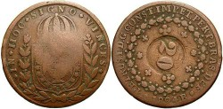 World Coins - Brazil. City of Ico. 1835. 20 reis. Fine.