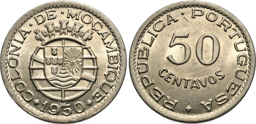 World Coins - Mozambique. 1950. 50 centavos. Gem BU.