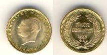 World Coins - Turkey 25 Piaster Gold Coins of , Mint State, 1.75 grams