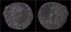 Ancient Coins - Tetricus II billon antoninianus pontificate implements
