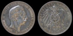 World Coins - Germany Prussia Wilhelm II 3 mark 1911A