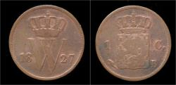 World Coins - Netherlands Willem I 1 cent 1827.