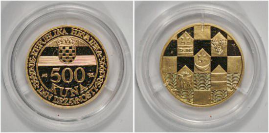 World Coins - Gold -Croatia 500 kuna 1995 proof