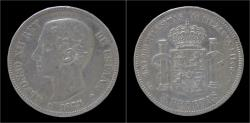 World Coins - Spain Alfons XII 5 peseta 1875