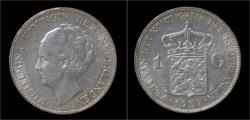 World Coins - Netherlands Wilhelmina I 1 gulden 1939.