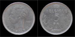 World Coins - Belgium Leopold III 5 frank 1937 FR-pos A