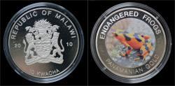 World Coins - Malawi- 10 kwacha 2010- Endangered frogs- Panamanian gold