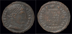 Ancient Coins - Constantine I AE follis campgate