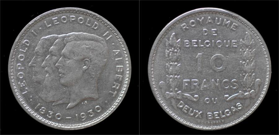 World Coins - Belgium Albert I 10 frank (2 belga) 1930FR-pos B.