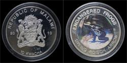 World Coins - Malawi- 10 kwacha 2010- Endangered frogs- Dyeng poison arrow