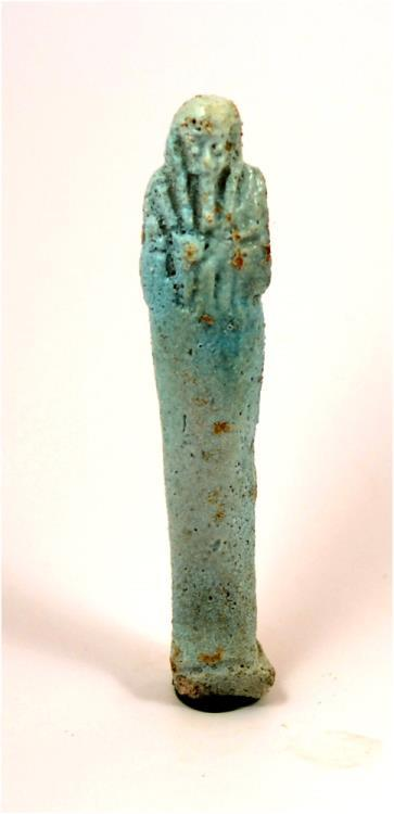 Ancient Coins - Egypt Late period -30th dynasty to ptolemaic period green faience shabti.