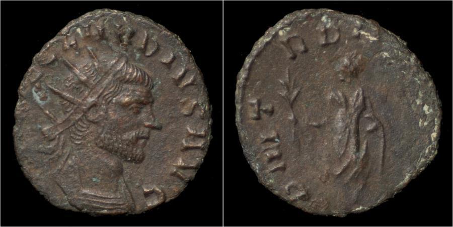 Ancient Coins - Claudius II Gothicus billon antoninianus emperor standing left