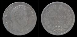 World Coins - France Louis Philippe I 5 frank 1832D.