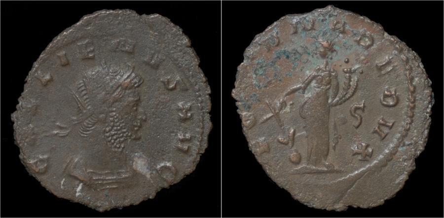 Ancient Coins - Gallienus billon antoninianus Fortuna standing left