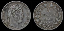 World Coins - France Louis Philippe I 5 francs 1848 A