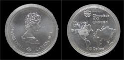 World Coins - Canada 10 dollar 1973- Montreal olympics 1976- world map