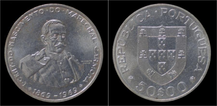 World Coins - Portugal 50 escudo 1969- Marechal Carmona