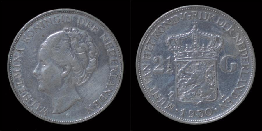World Coins - Netherlands Wilhelmina I 2 1/2 gulden(rijksdaalder)1930