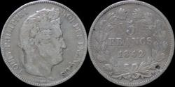 World Coins - France Louis Philippe I 5 francs 1842B