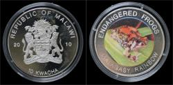 World Coins - Malawi- 10 kwacha 2010- Endangered frogs- Malagasy rainbow