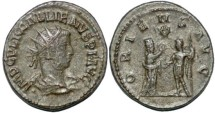 Ancient Coins - Gallienus AR antoninianus Tyche presenting wreath to emperor