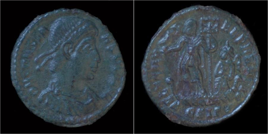 Ancient Coins - Constans AE centenionalis Constans standing on galley