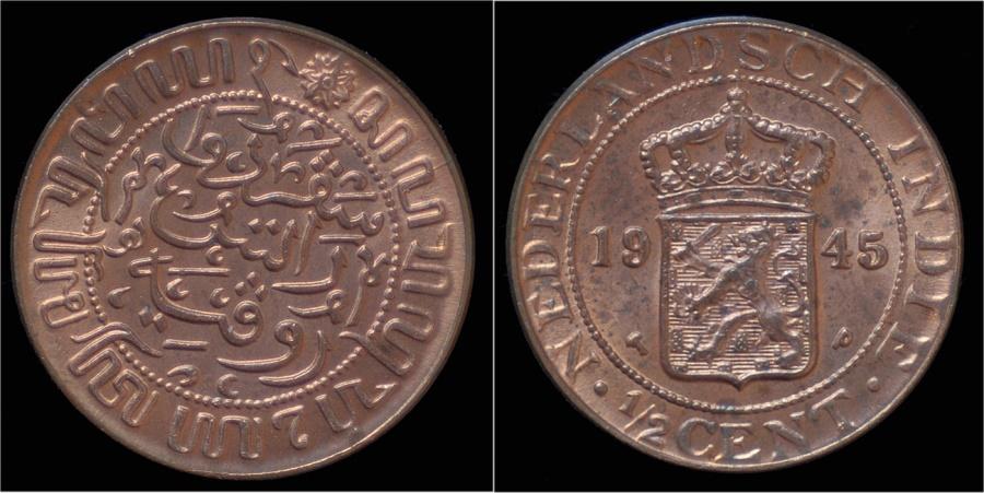 Netherlands indies 1 2 cent 1945 unc for 1945 dutch east indies cuisine