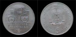 World Coins - DDR 5 mark 1990 500 jahre postwesen.