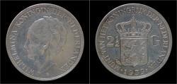 World Coins - Netherlands Wilhelmina I 2 1/2 gulden(rijksdaalder)1939.