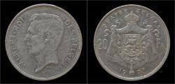 World Coins - Belgium Albert I 20 frank (4belga) 1931FR-pos A