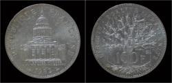 World Coins - France 100 francs 1982- Pantheon