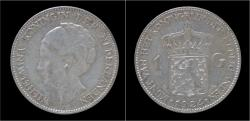 World Coins - Netherlands Wilhelmina I 1 gulden 1924