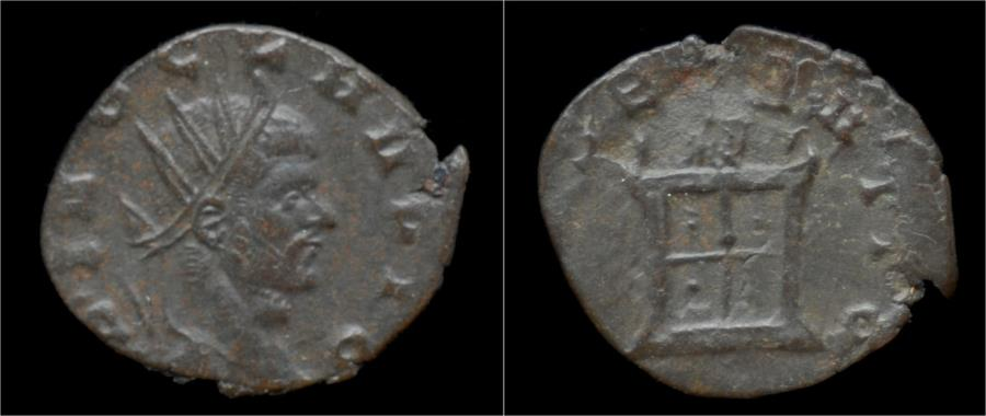 Ancient Coins - Divo Claudius II Gothicus billon antoninianus flaming altar