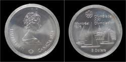 World Coins - Canada 5 dollar 1976- Montreal olympics- sailboat Kingston.